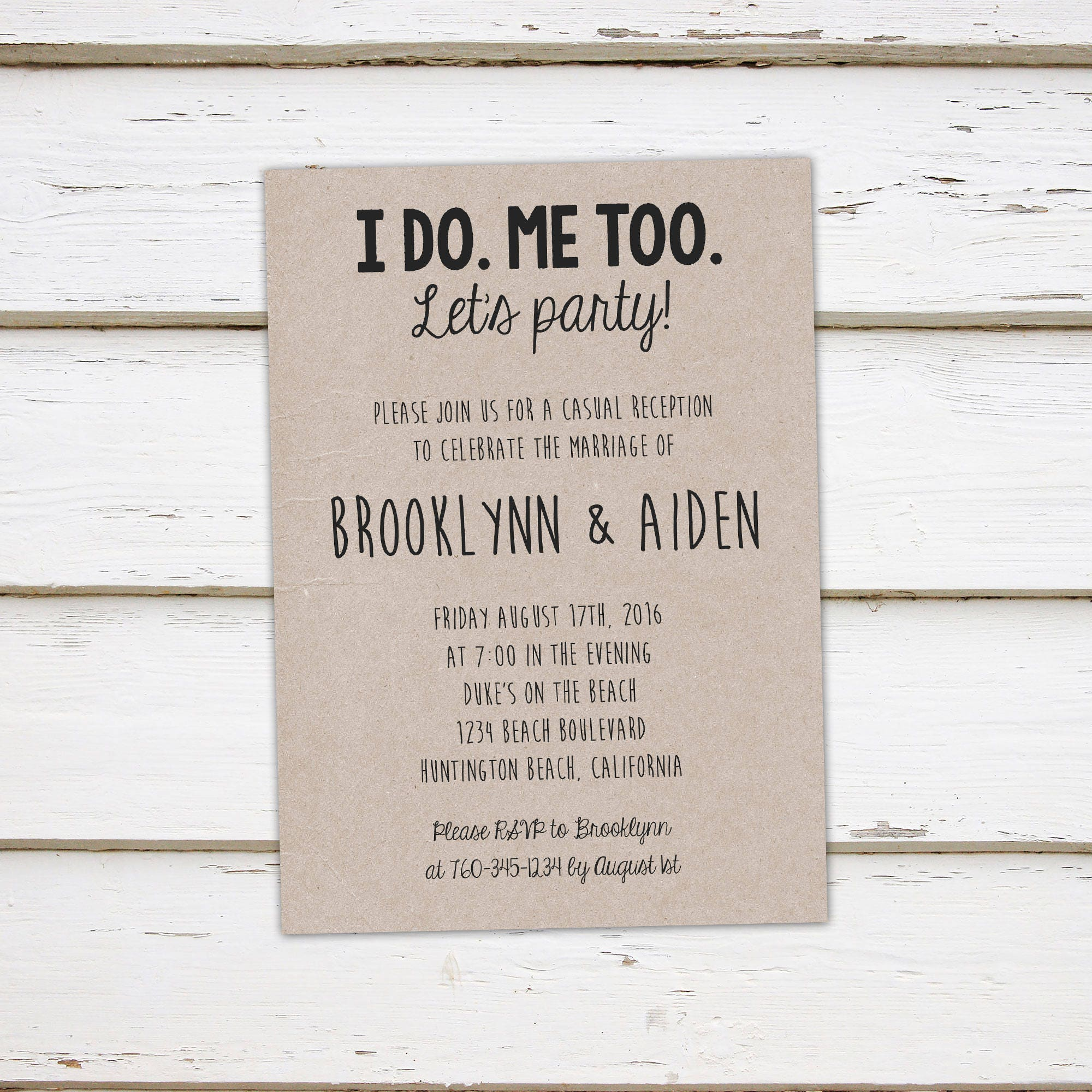 printable elopement reception invitation i do me too we eloped