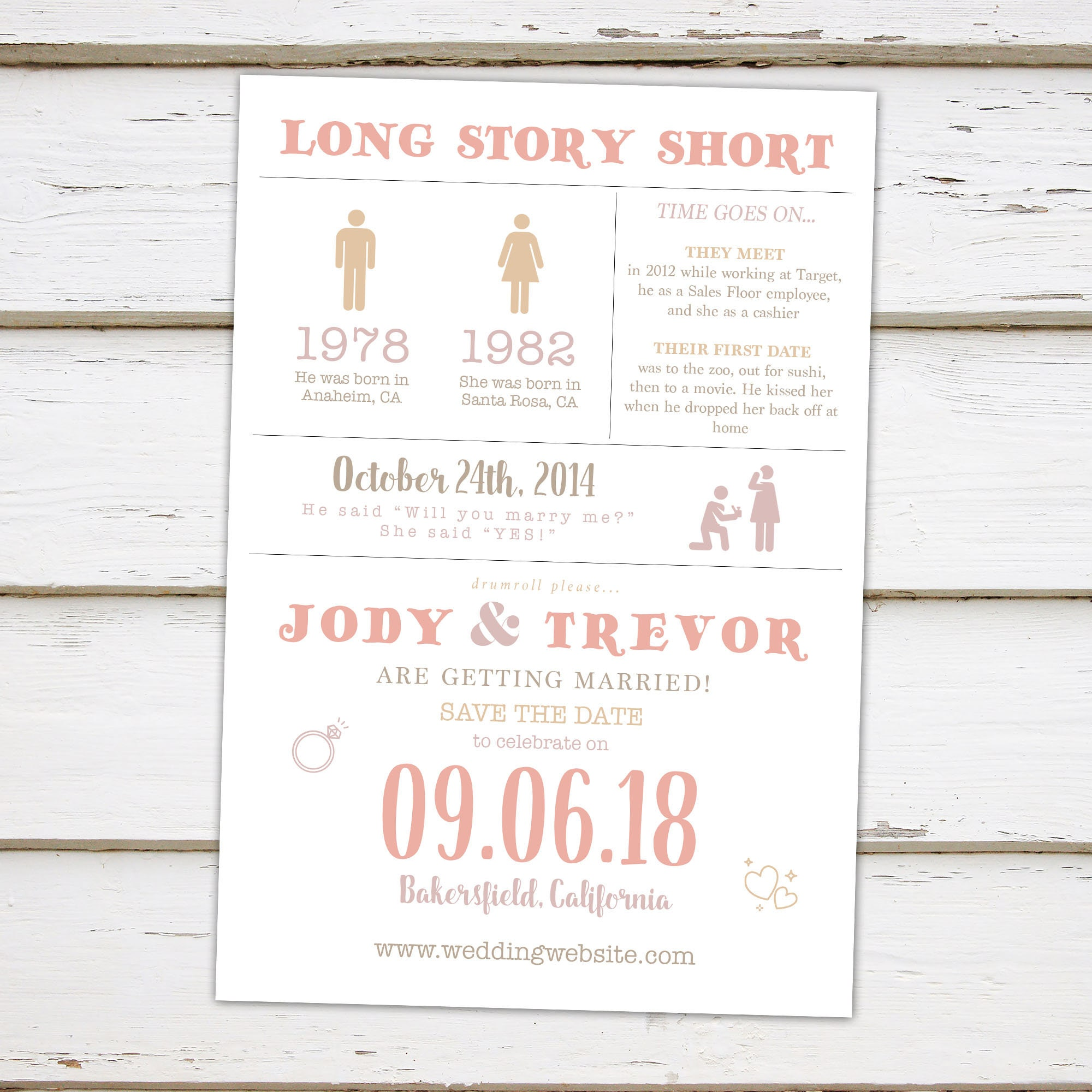 Printable Funny Save The Date Card, Infographic Save The
