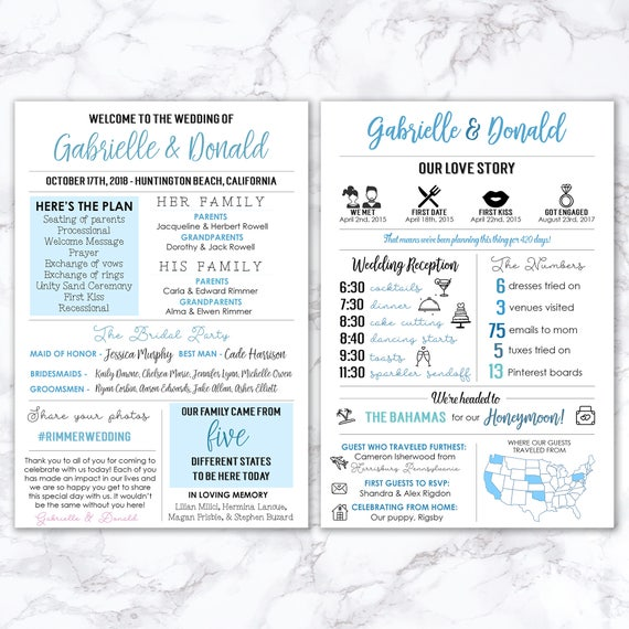 Printable Infographic Wedding Program Unique Fun Modern Entertaining Facts Hashtag MB199