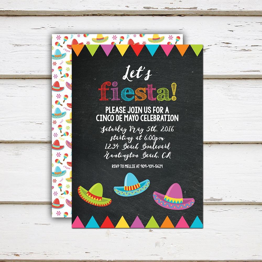printable cinco de mayo invitation fiesta mexican party sombrero