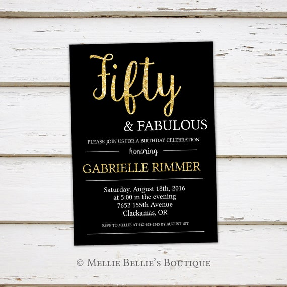 Printable 50th Birthday Invitation Fifty And Fabulous Gold Glitter Black White Simple Glitzy Turning 50 Born In 1967 MB046