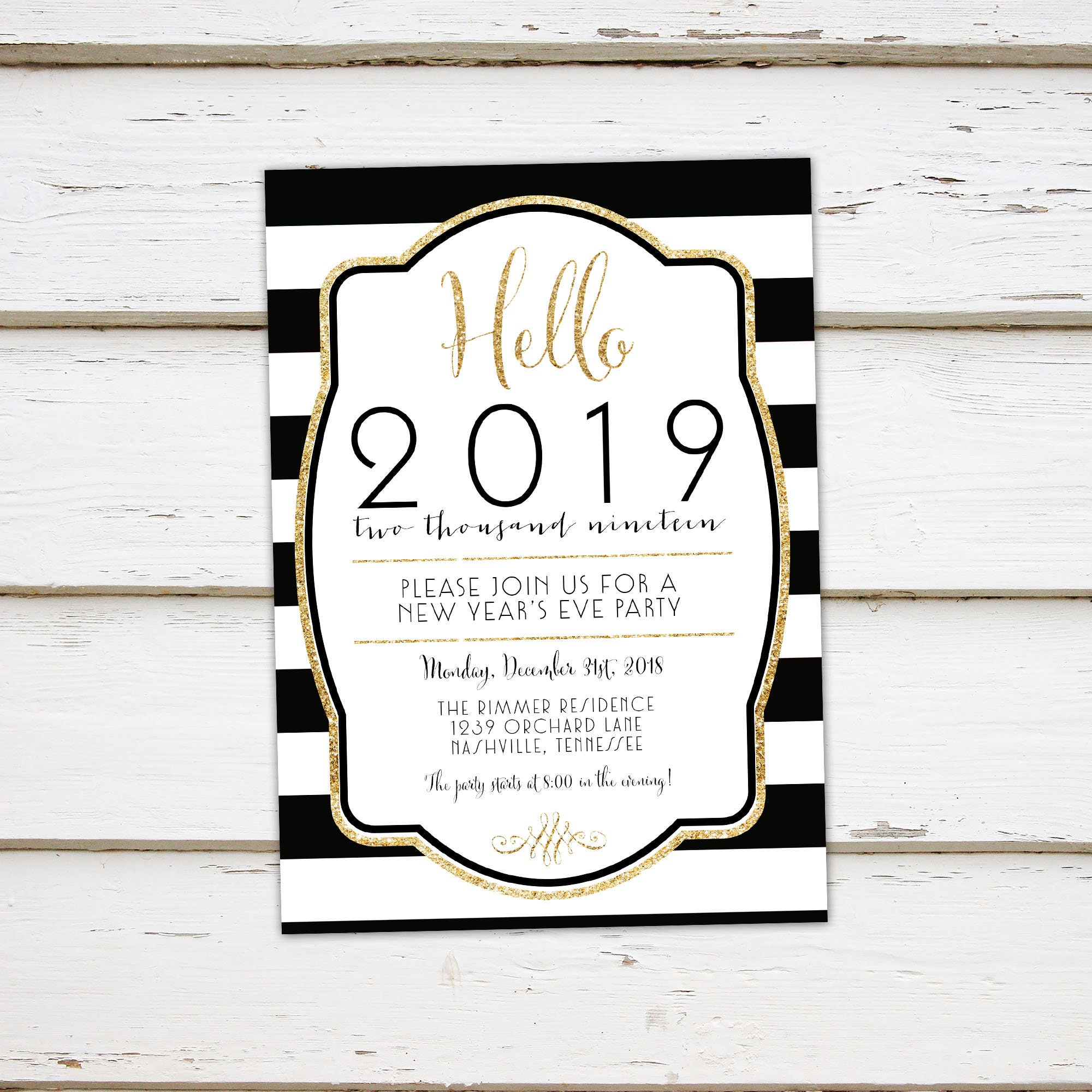 printable new years eve party invitation 2019 new years party hello 2019 gold glitter black bold stripes art deco mb263
