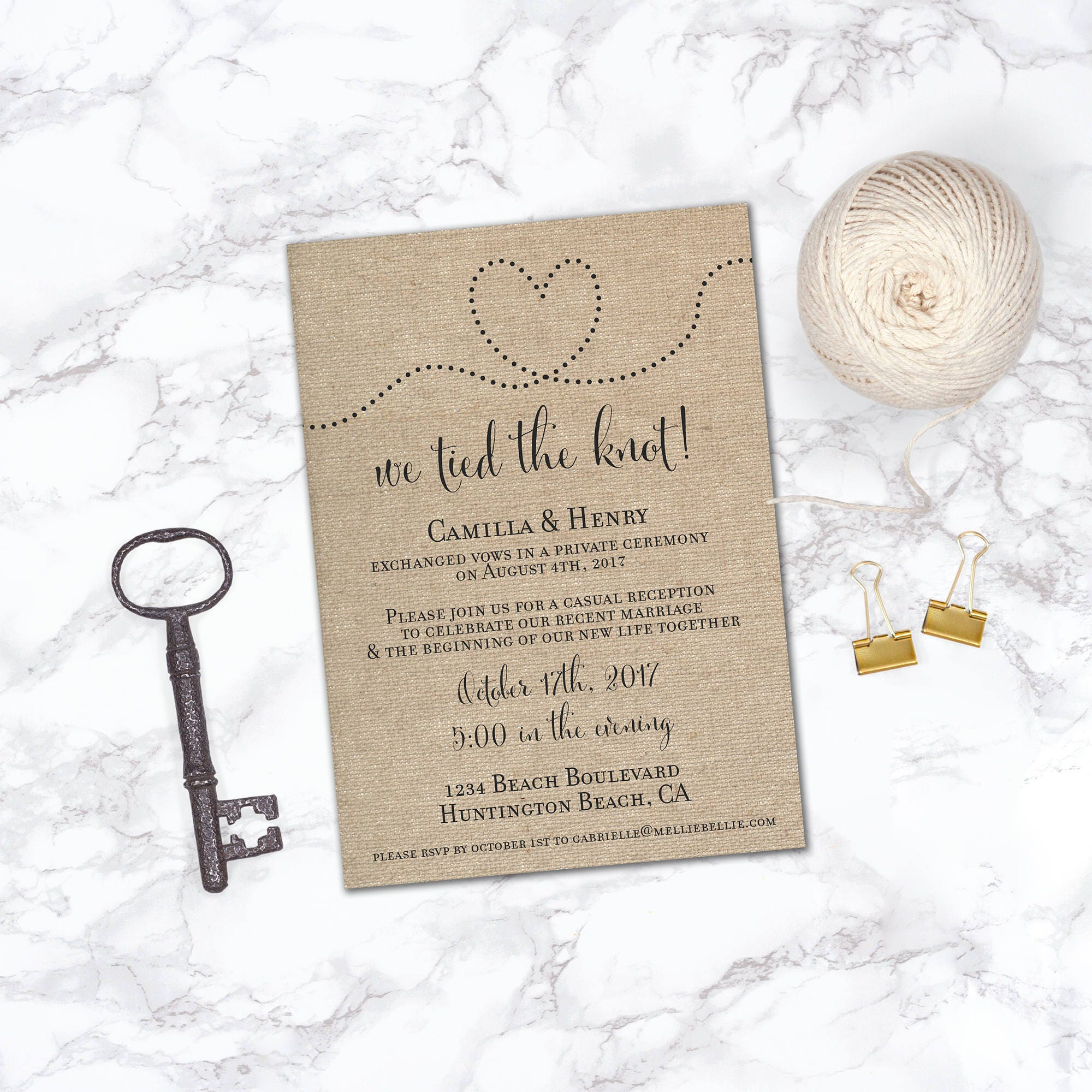 printable elopement reception invitation reception only already