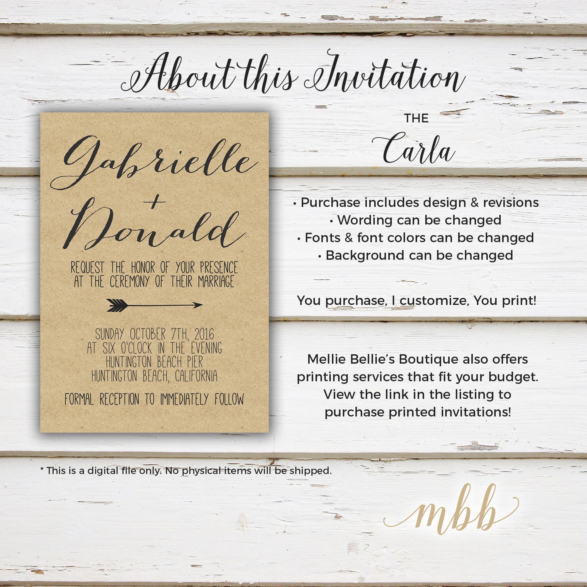 Printable Rustic Wedding Invitation, Arrows, Kraft, Calligraphy ...
