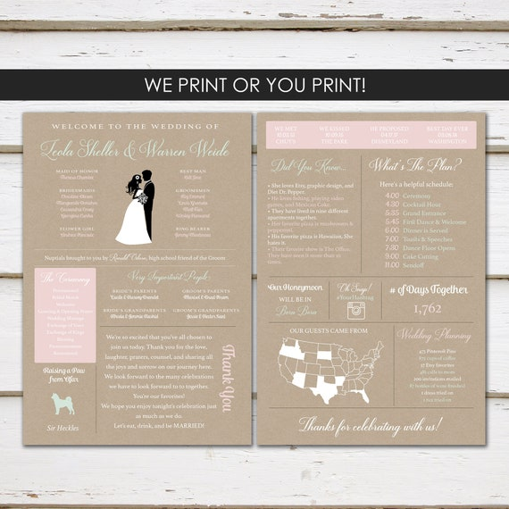 Fun Infographic Wedding Program Unique Silhouette Modern Entertaining Facts Printable Or PRINTED MB362