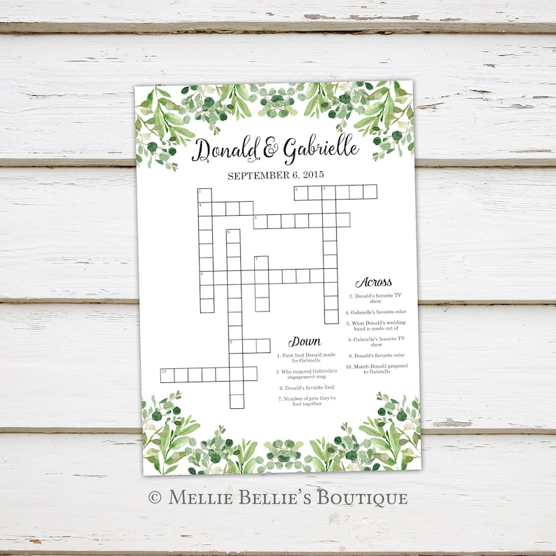 graphic relating to Printable Celebrity Crossword Puzzles called Printable Wedding ceremony Crossword Puzzle Video game, Online games for Wedding ceremony, Reception, For Youngsters, Pursuits, Greenery, Rustic, Phrase Glance, Shower, MB366