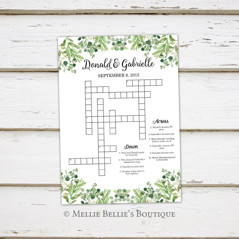 photo about Printable Celebrity Crossword Puzzles known as Printable Wedding day Crossword Puzzle Activity, Video games for Wedding ceremony, Reception, For Little ones, Functions, Greenery, Rustic, Term Appear, Shower, MB366