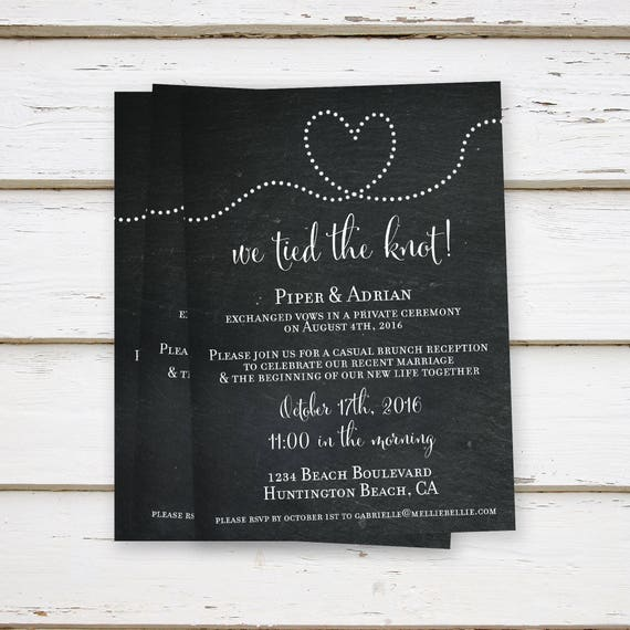 Printed Elopement Reception Invitations We Eloped Tied The Knot Already Married Only Casual Got Hitched MB059