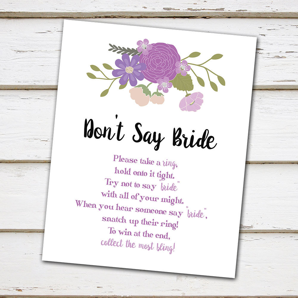 printable purple floral bridal shower game dont say bride dont say wedding simple bridal shower game sign spring mb198