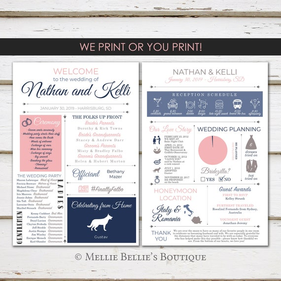 Modern Program Fun Infographic Wedding Program Entertaining Unique Wedding Program Fun Program Fun Facts MB336 Printable or PRINTED