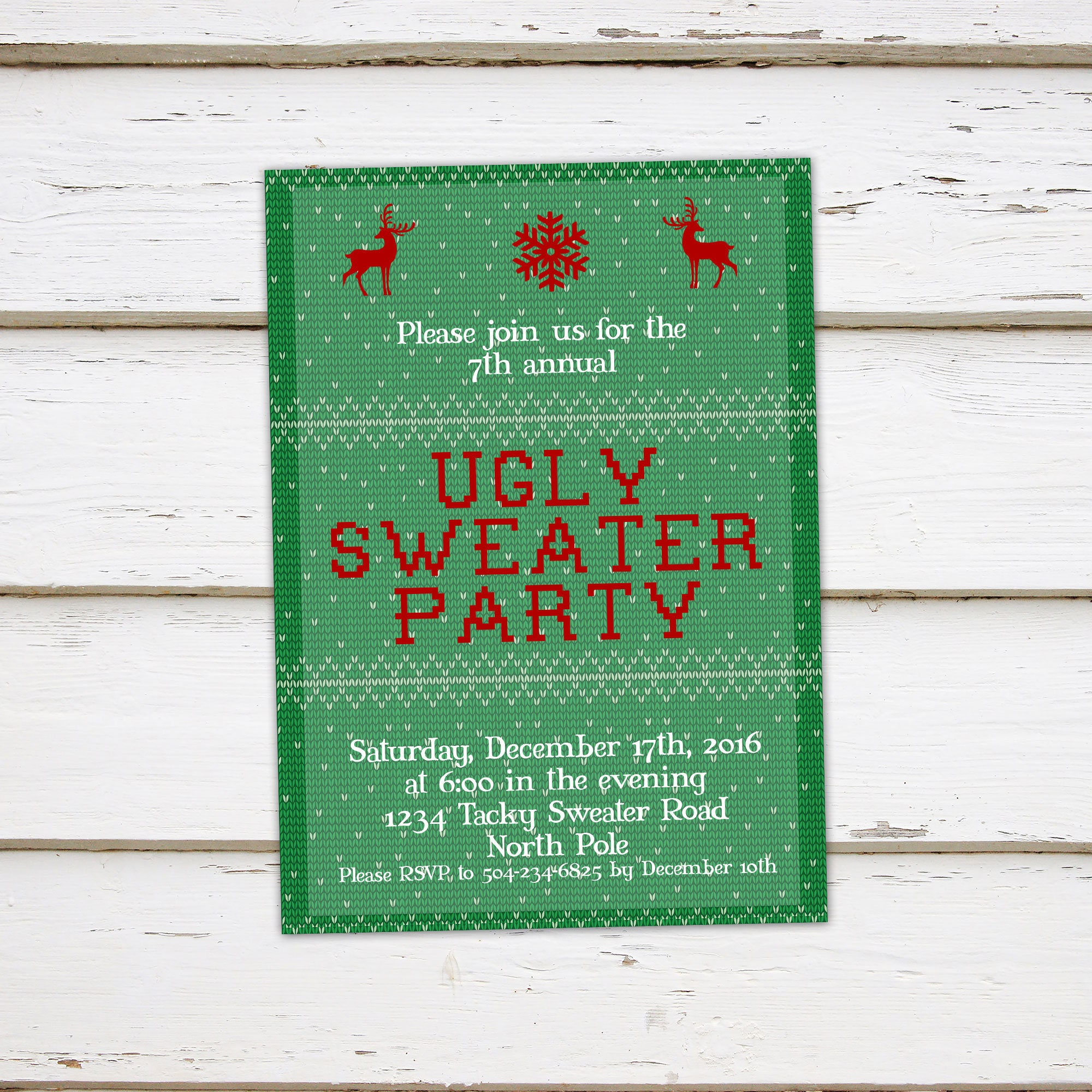 Printable Ugly Sweater Christmas Party Invitation Funny Party