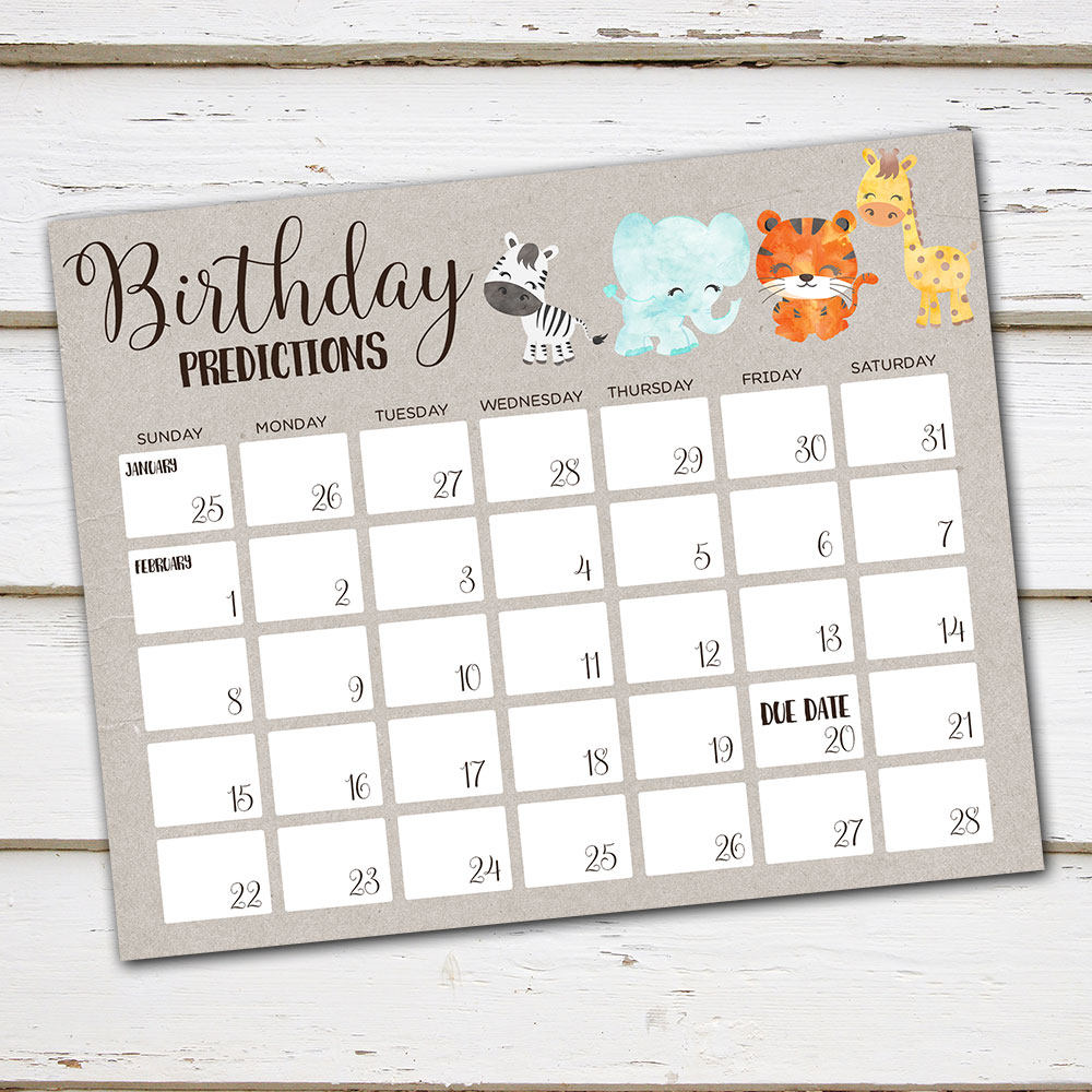 picture about Free Printable Due Date Calendar named Printable Birthday Predictions Little one Shower Sport, Wager Owing