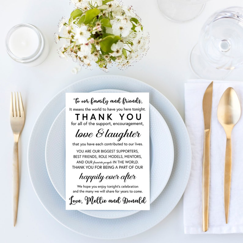 6006f81c7d33 Printable Wedding Thank You Note Place Card, Placemat, Wedding Favor, Place  Setting, Table Card, Thank you Card, Personalized, MB235