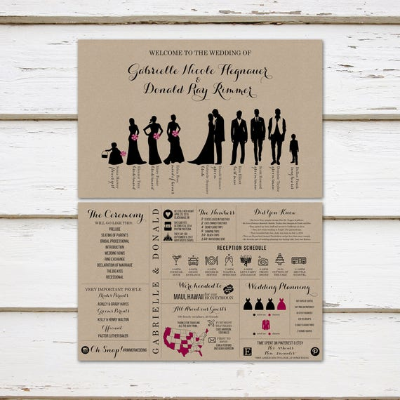 620856fdc Printable Fun Infographic Wedding Program, Unique Wedding Program,  Silhouette Program, Bridal Party, Entertaining, Fun Facts, Outline MB249