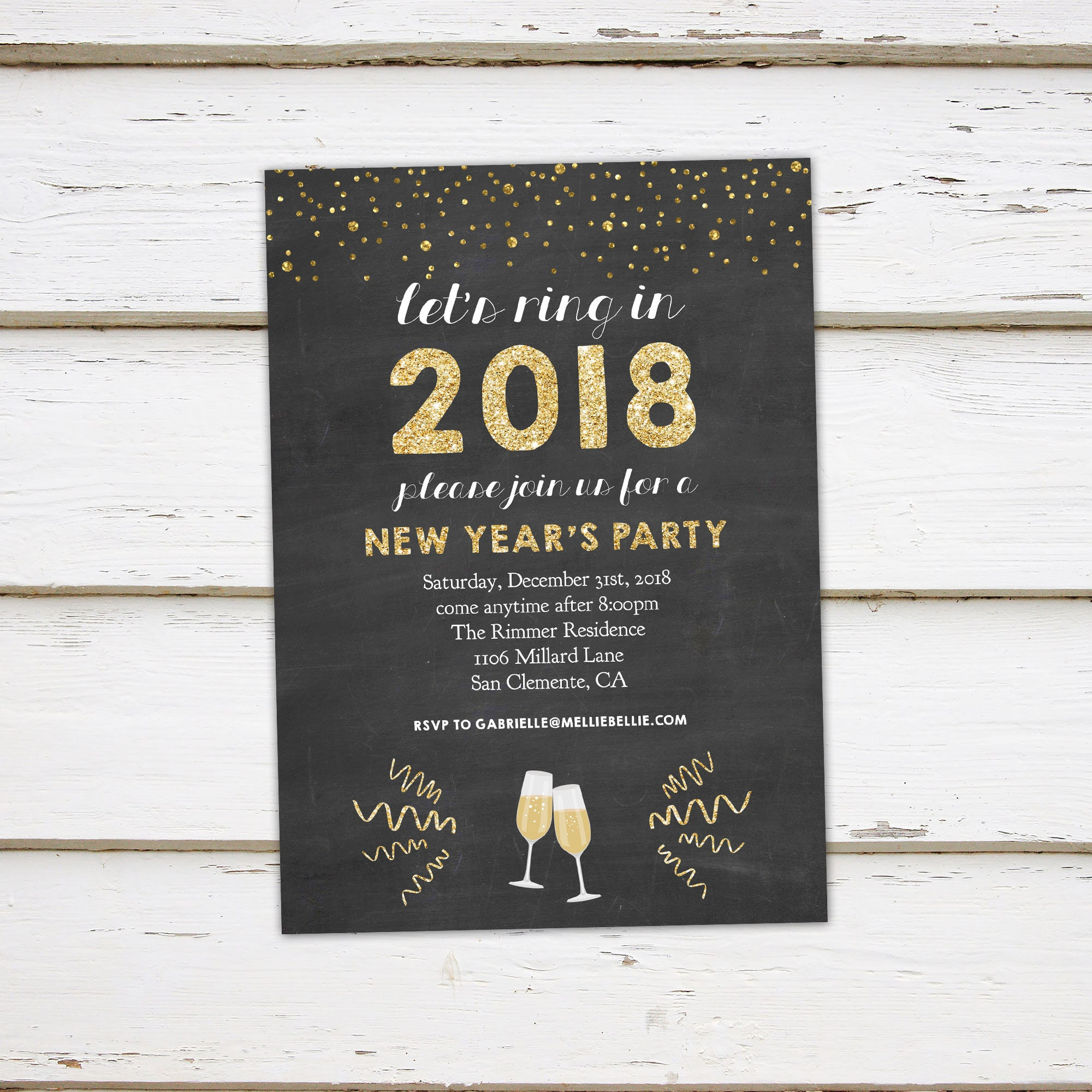 Printable New Years Party Invitation Gold Glitter Champagne Glasses Lets Ring In 2019 NYE Chalkboard Foil MB387