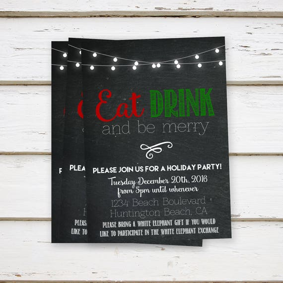 Printed Christmas Party Invitations Eat Drink Be Merry Annual