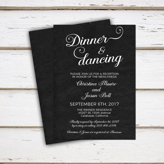 Printable Wedding Reception Invitation Dinner And Dancing