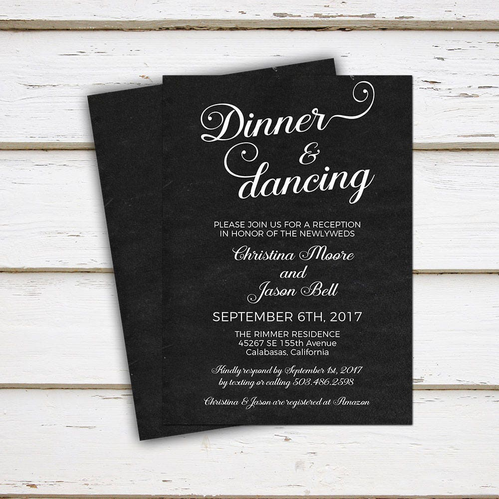 Wedding Dance Only Invitation Wording: Printable Wedding Reception Invitation Dinner And Dancing
