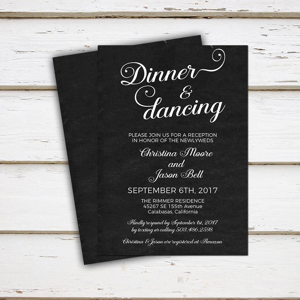 printable wedding reception invitation dinner and dancing