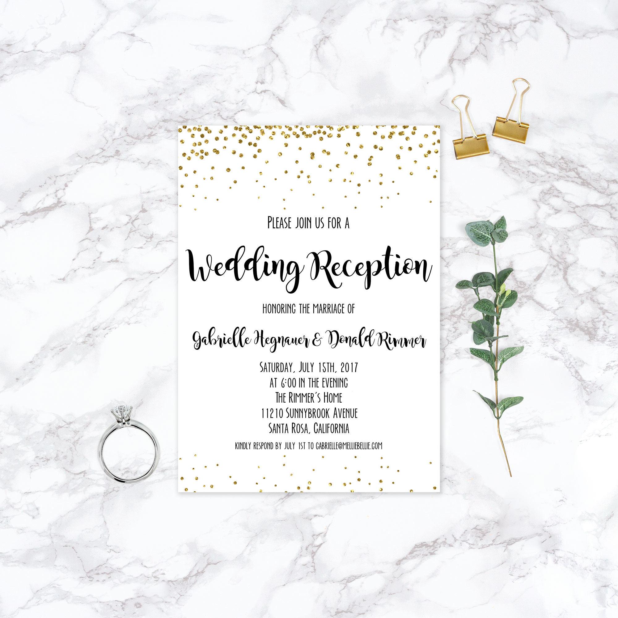 Printable Elopement Reception Invitation, Wedding Reception, Simple ...