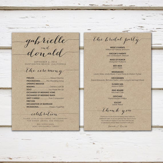 printable kraft wedding program simple wedding program black and