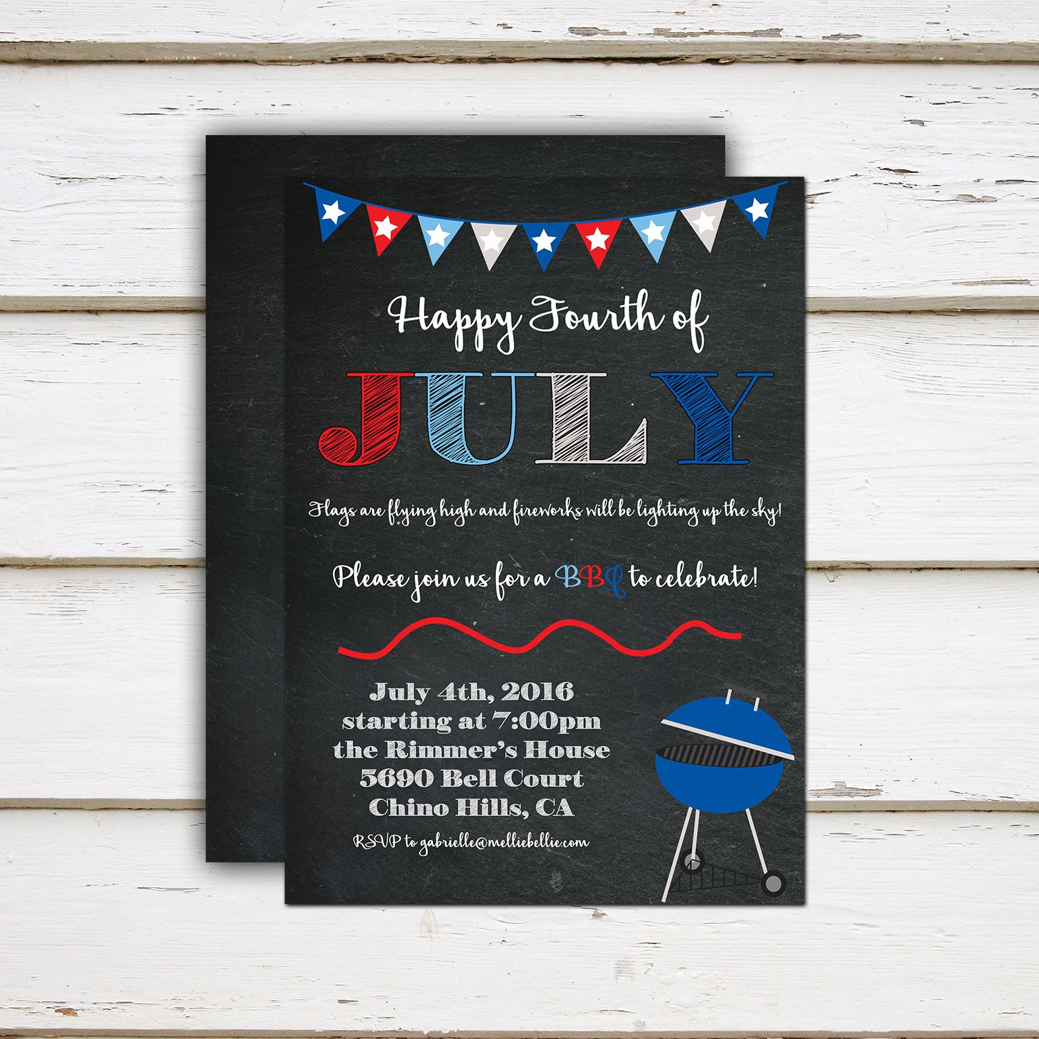 Printable Fourth of July Invitation, 4th of July, BBQ, Barbecue, Fireworks, Summer Party, Celebration, Birthday, Chalkboard, MB167