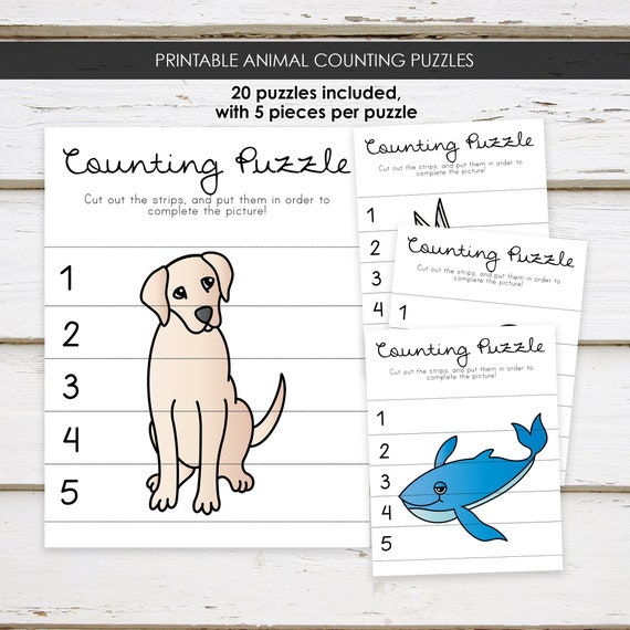 Printable Animal Themed Counting Puzzle Worksheets, Preschool Worksheets,  Number Puzzles, Animal Counting, Preschool Curriculum, MB162 By Mellie  Bellie's Boutique Catch My Party