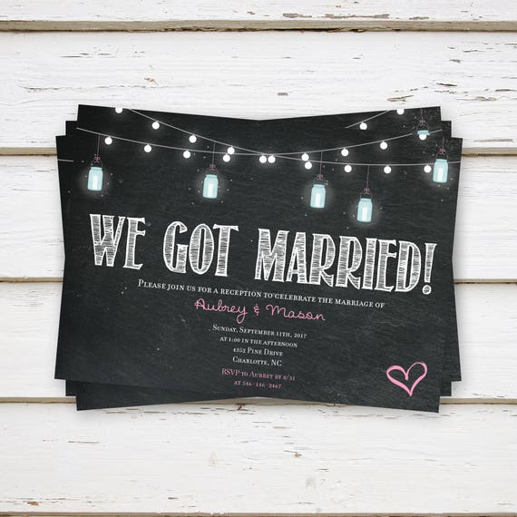 printed elopement reception invitations engagement party