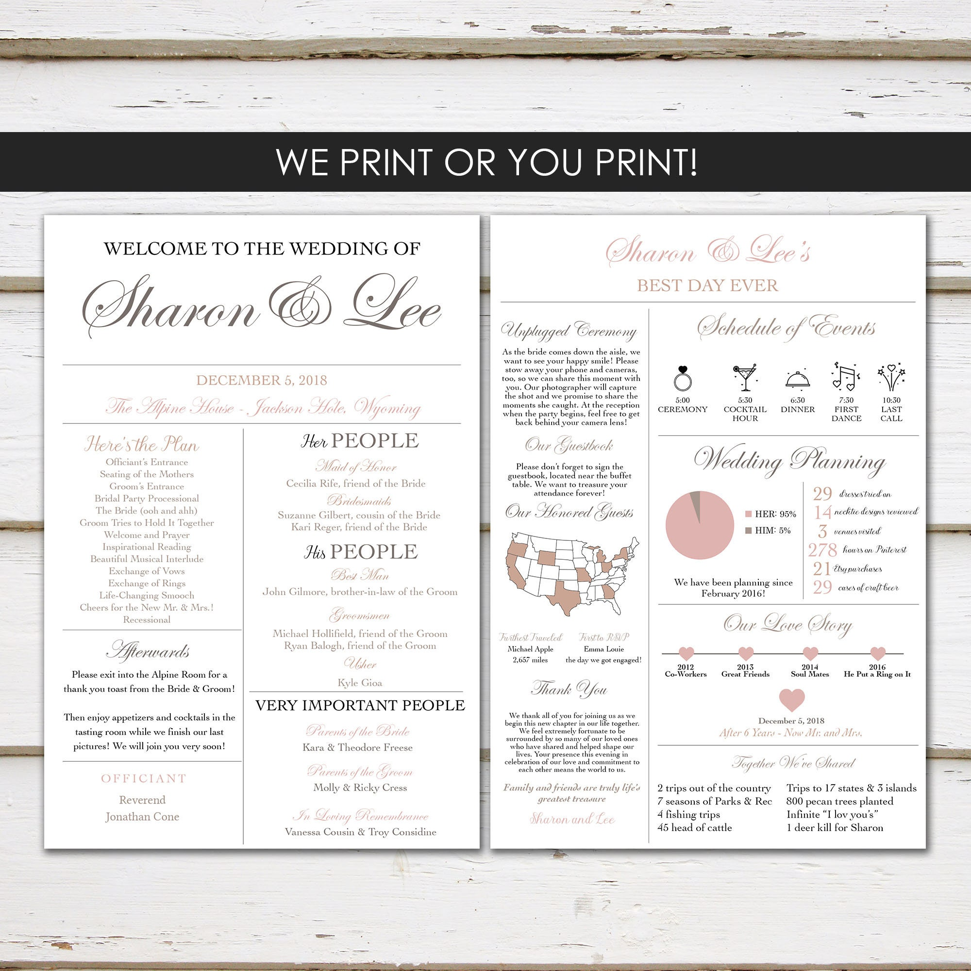 Fun Infographic Wedding Program Unique Modern Entertaining Facts Printable Or PRINTED MB420