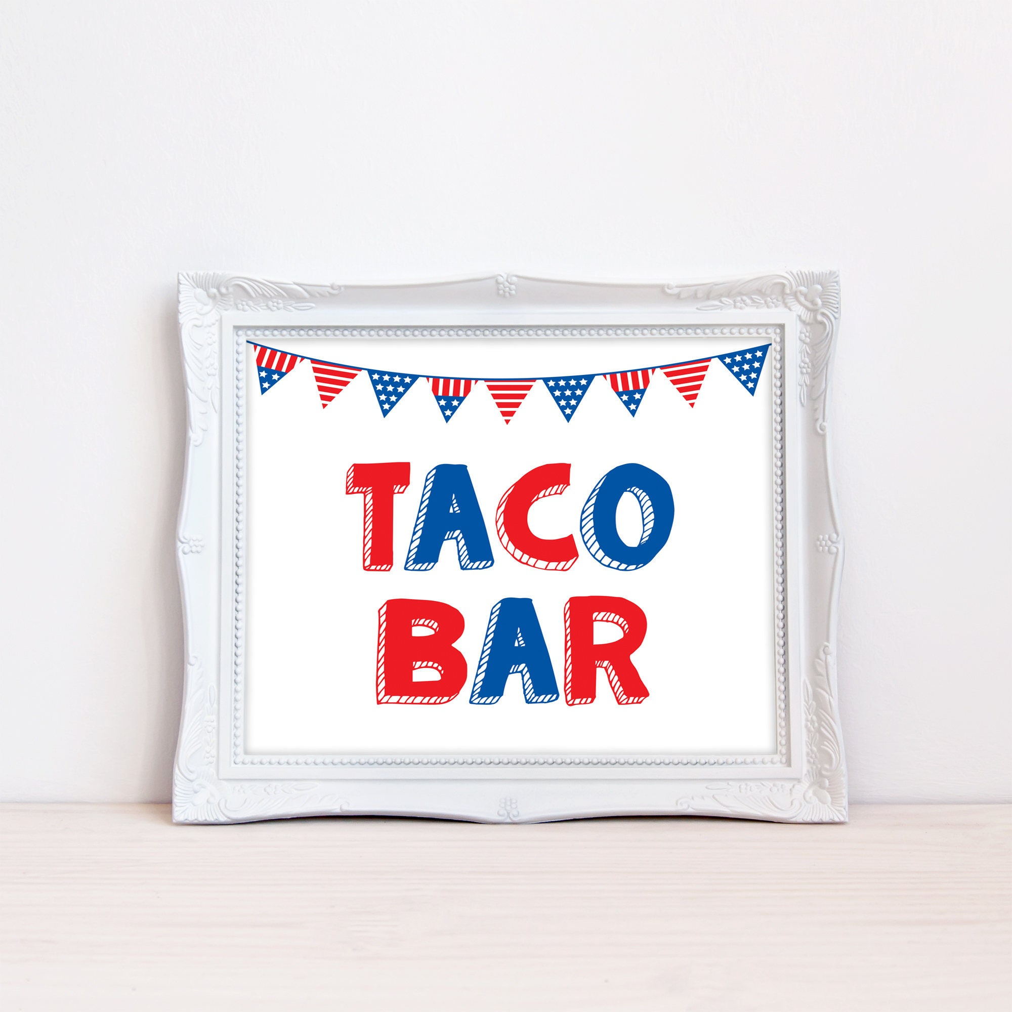 image about Closed for Memorial Day Printable Sign identified as Printable Taco Bar 4th of July Signal, Fourth of July BBQ Indicator