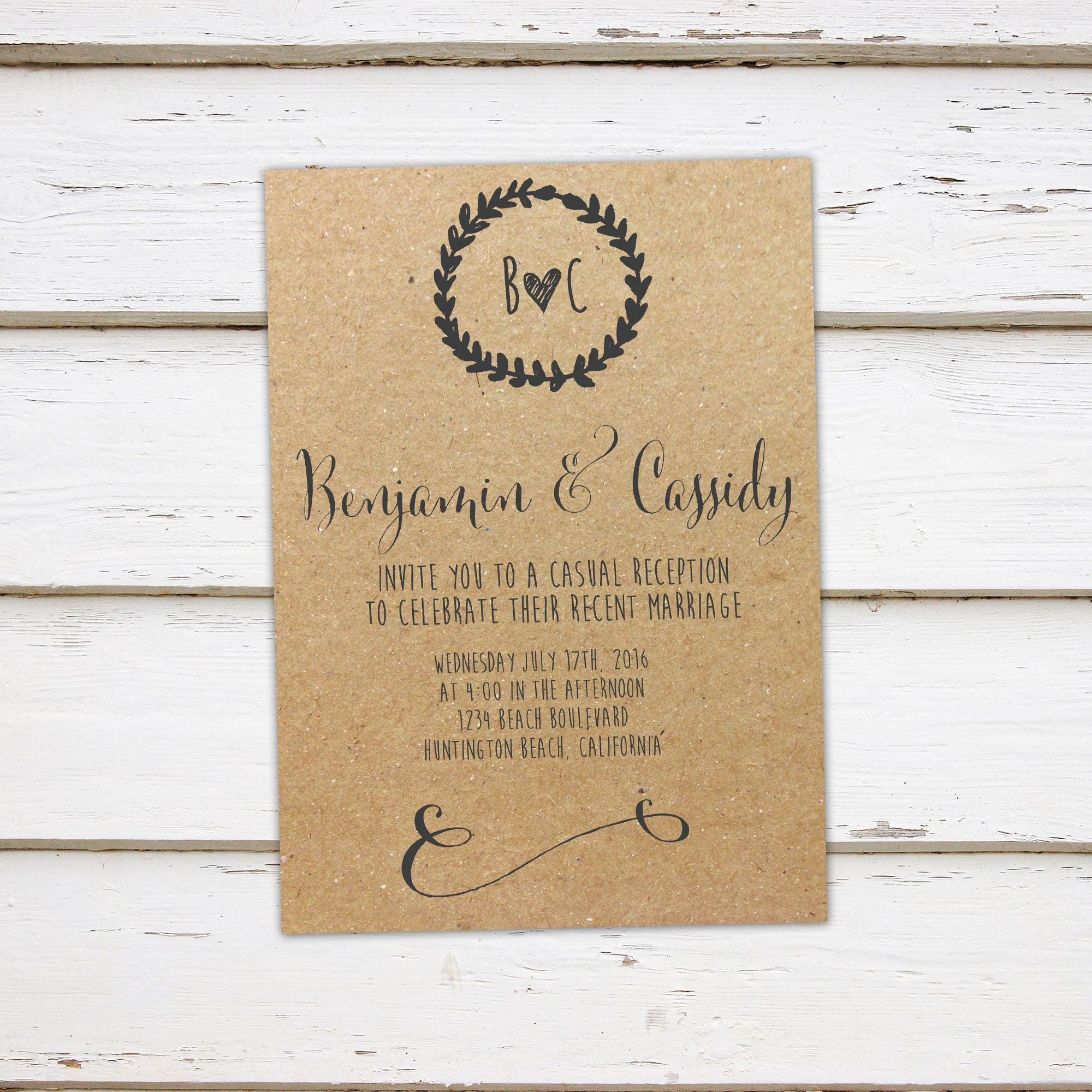 Printable Elopement Wedding Reception Invitation Rustic Laurel Wreath We Eloped Did Got Hitched Announcement Married MB109