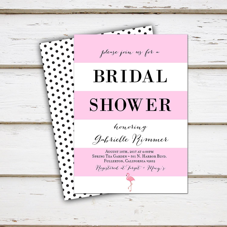 printable bridal shower invitation tropical flamingo pink black polka dot cute girly hawaii luau bachelorette lingerie mb036