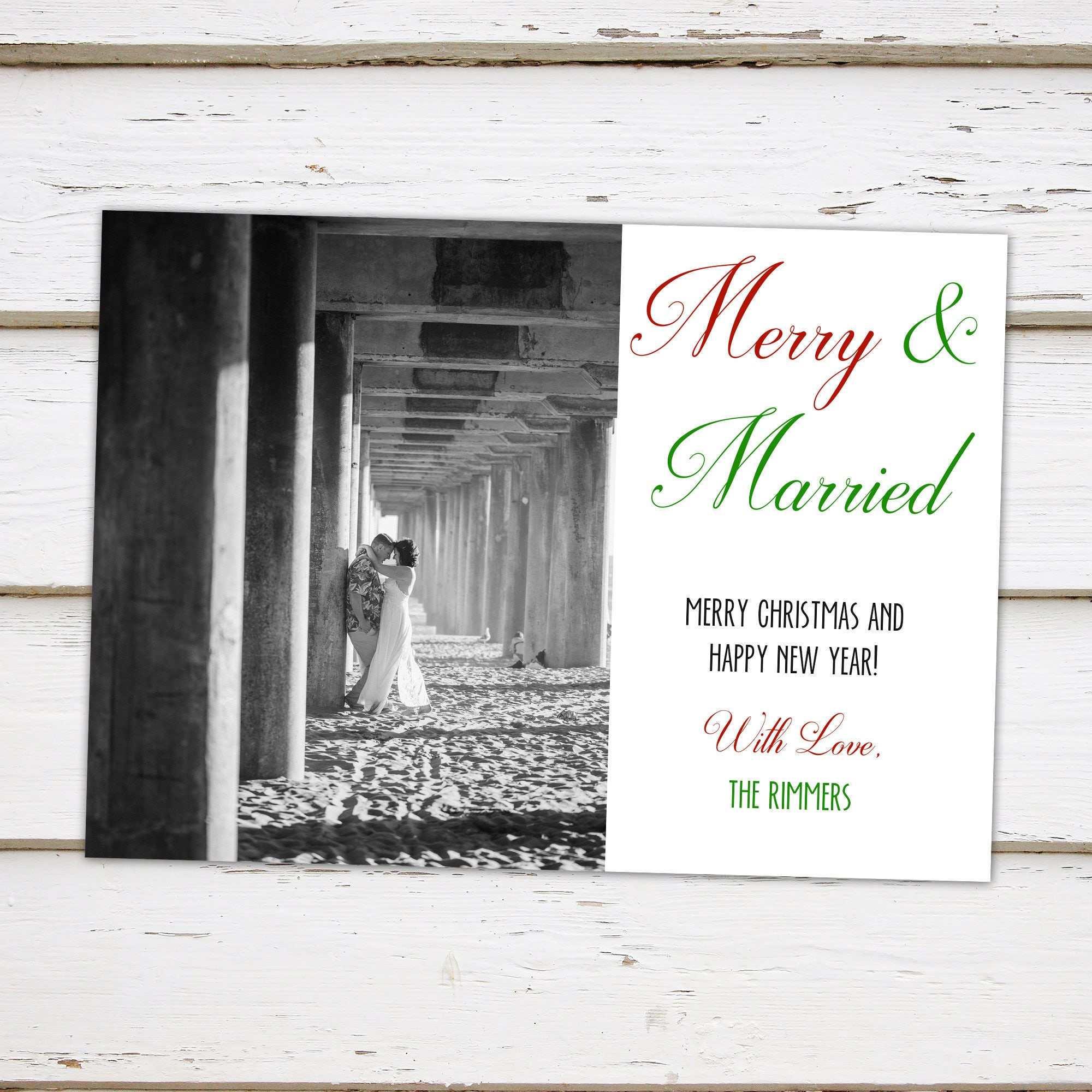 Printable Holiday Christmas Card, Merry & Married, Eloped, Elopement ...