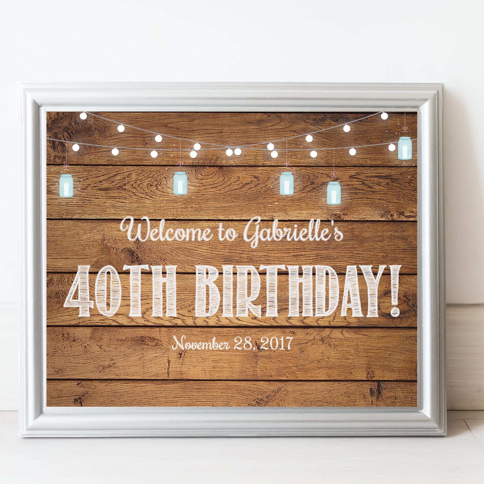 Printable Welcome Birthday Sign Wood Rustic 50th Party Decor Adult Any Age BBQ MB032