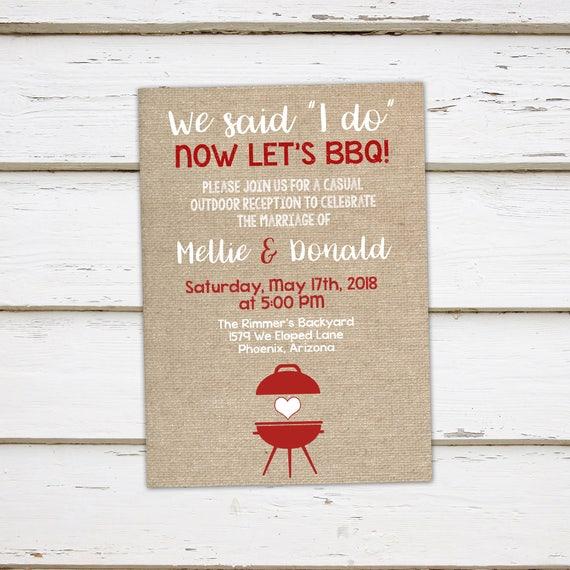 printable i do bbq invitation elopement reception burlap etsy