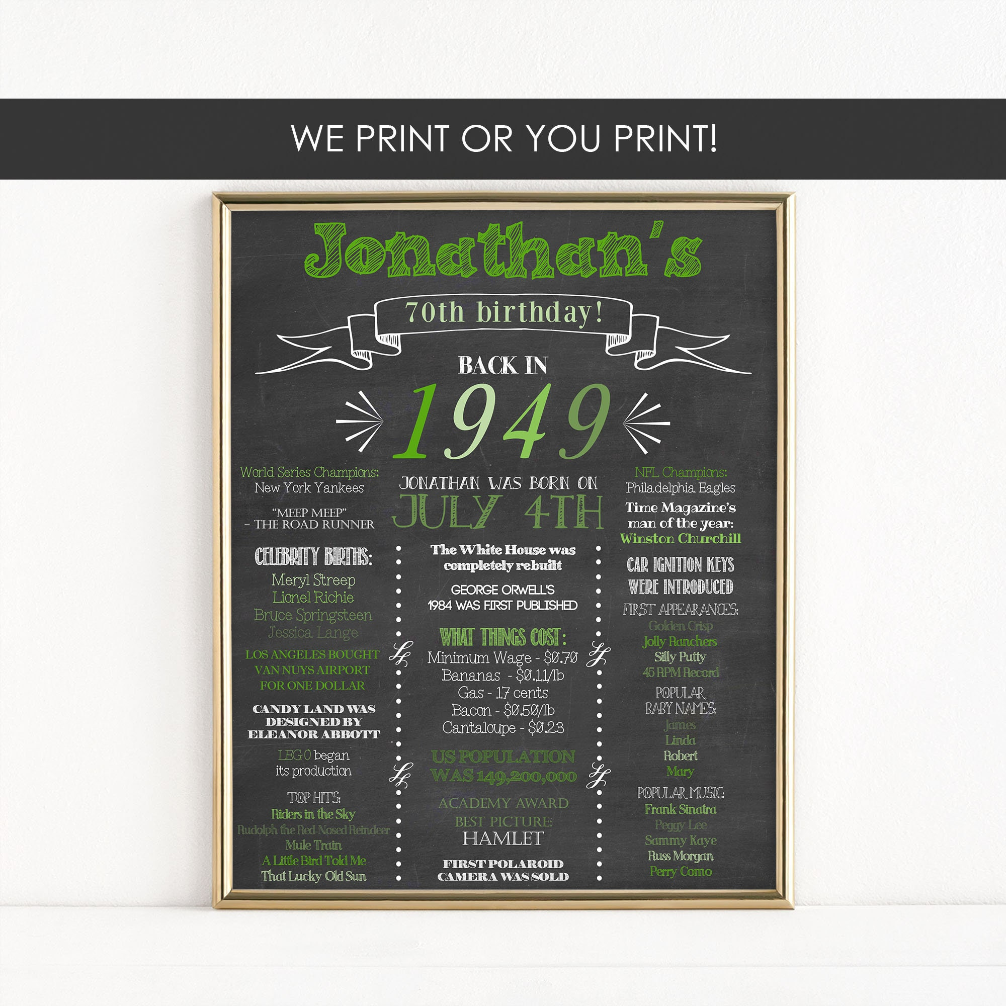 Printable 70th Birthday Milestone Sign Back In 1949 Reunion Gift Poster Digital Download MB060