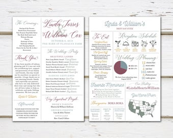 Printable Fun Infographic Wedding Program, Unique Wedding Program, Fun Program, Modern Program, Entertaining, Fun Facts, Hashtag, MB246