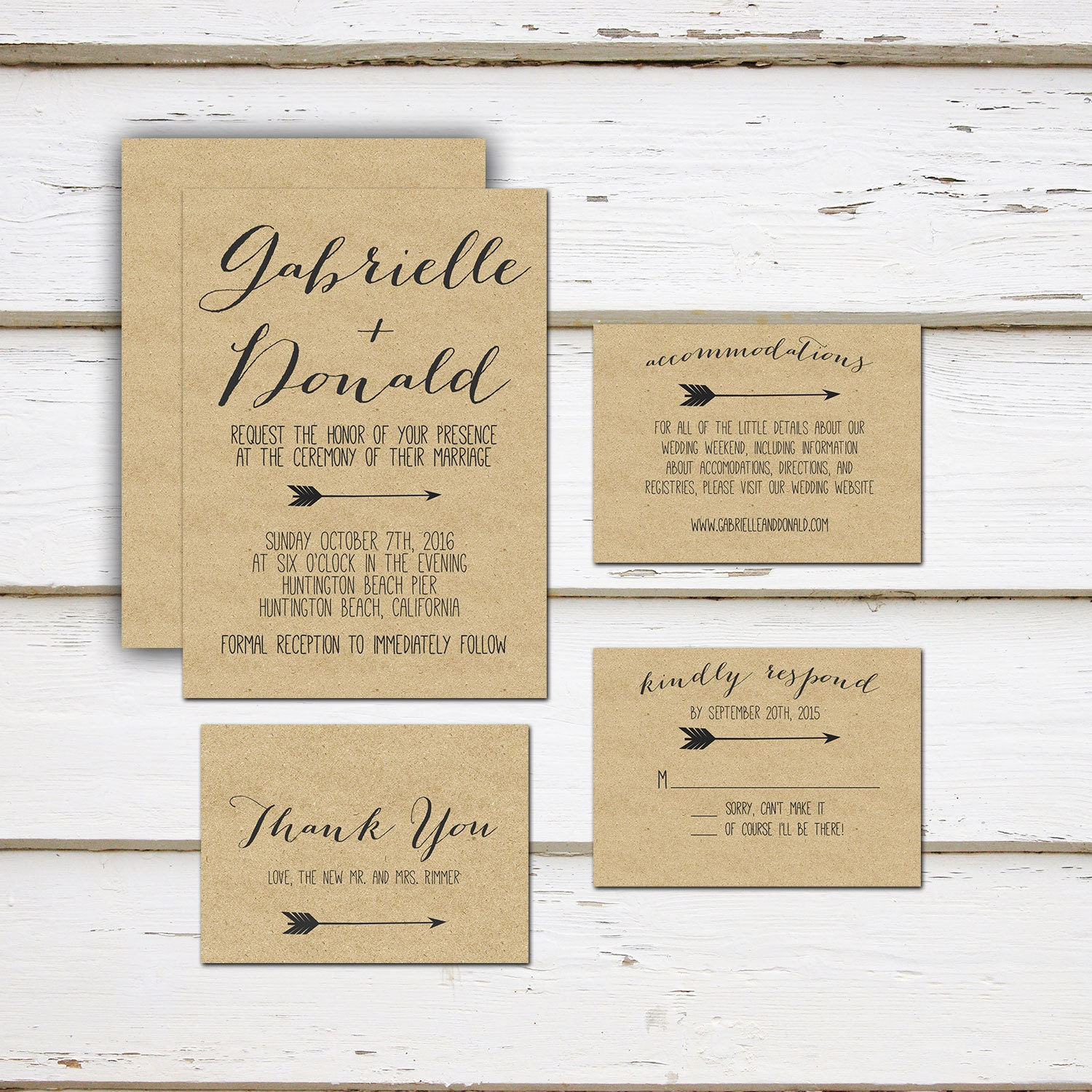 Printable Mini Wedding Suite, Invitation, Thank You Card