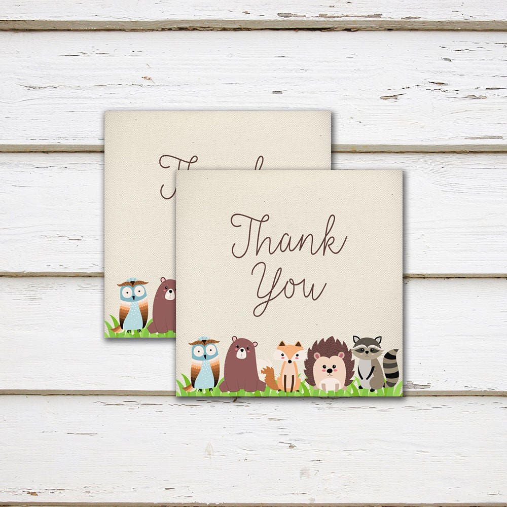 Printable Woodland Baby Shower Favor Tags Thank You Tags Square