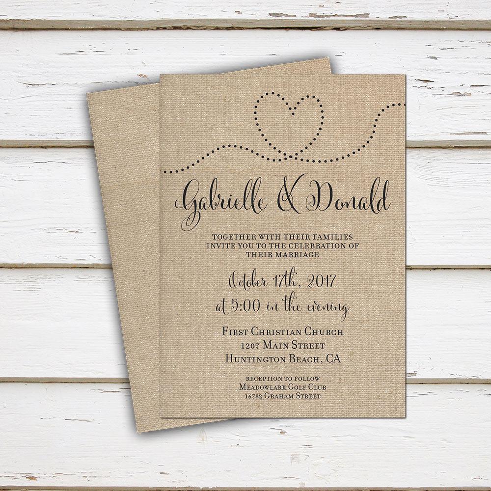 Printable Burlap Wedding Invitation, Rustic Wedding, Digital, Heart ...