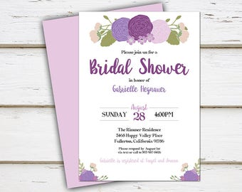 Printable Purple Floral Bridal Shower Invitation, Purple Peonies, Summer, Spring, Bachelorette Party, Couple's Shower, Wedding Shower, MB198