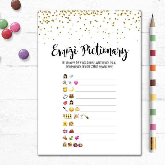 photo relating to Bridal Shower Games Free Printable titled Printable Marriage Emoji Pictionary Bridal Shower Recreation