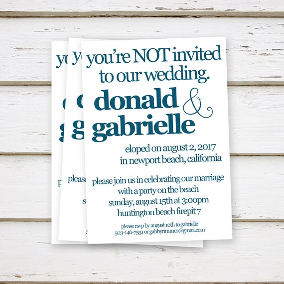 Printed Elopement Reception Invitations Elopement We Eloped