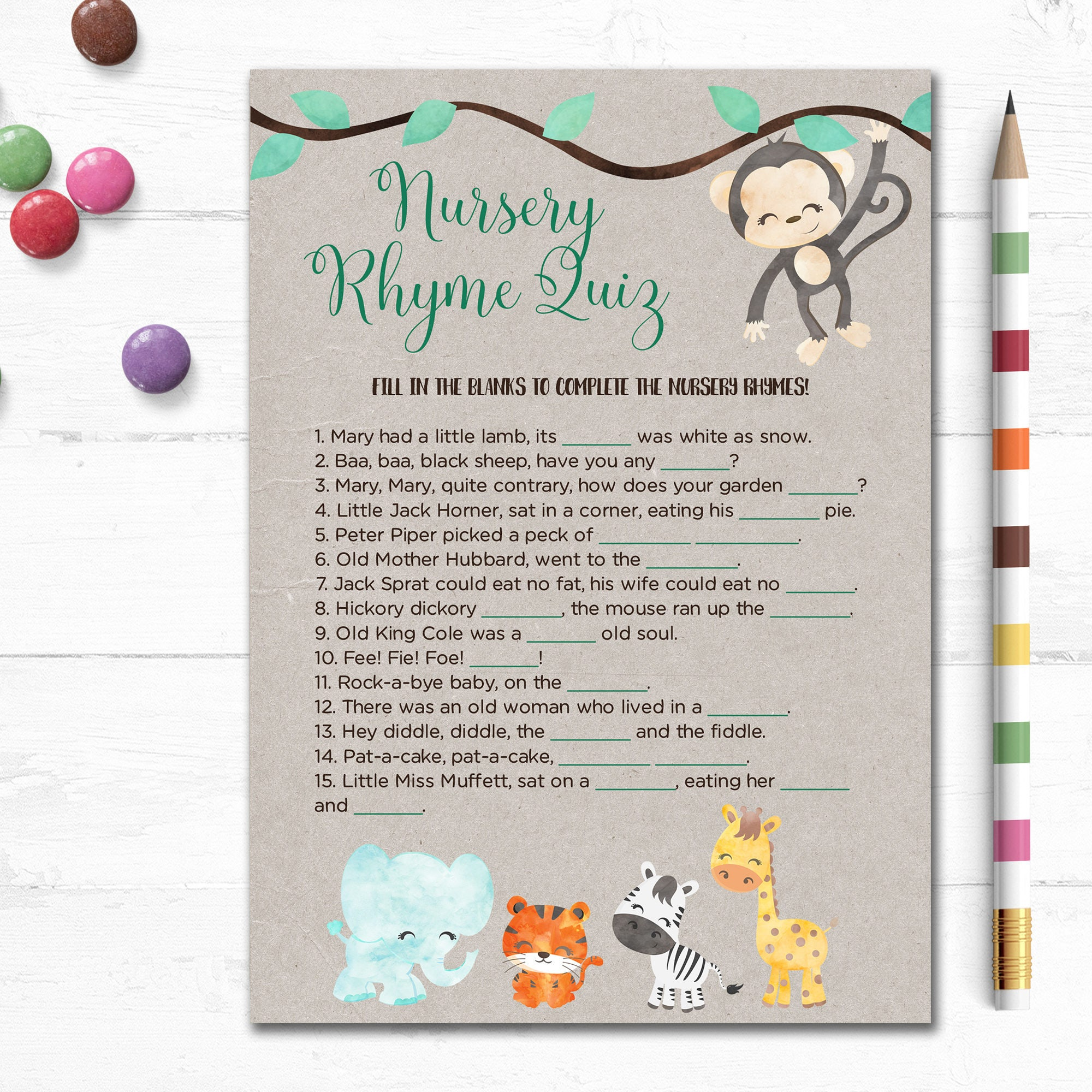 printable baby shower game nursery rhyme quiz fill in blank