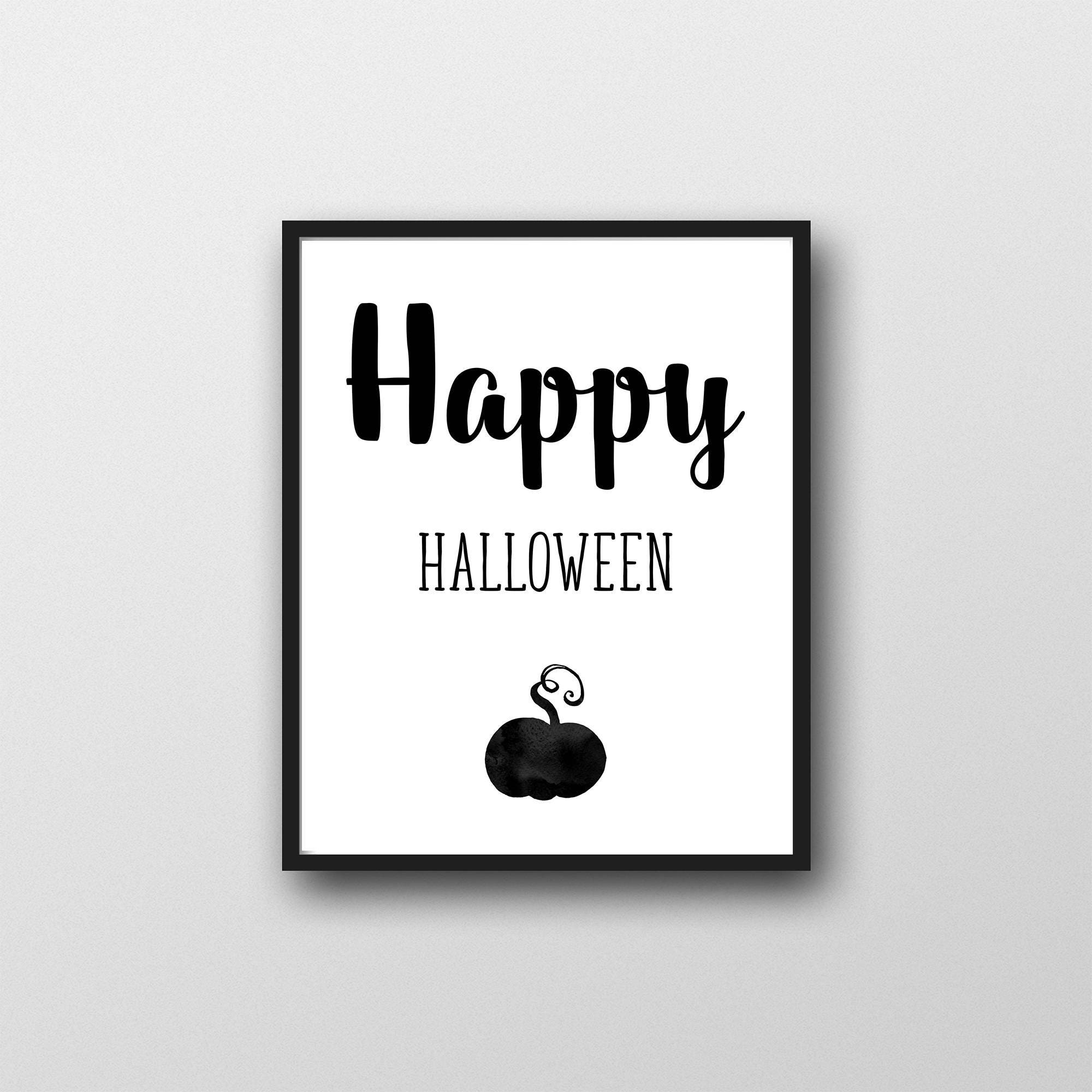 printable halloween wall art, happy halloween, modern, black and