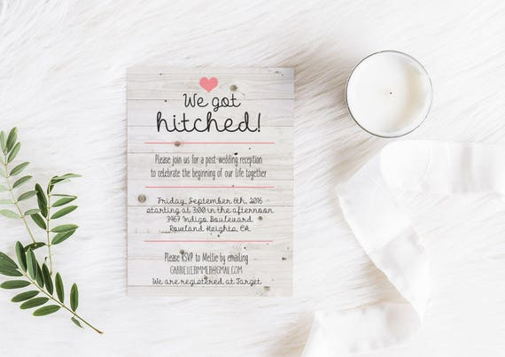 printable elopement reception invitation we got hitched rustic