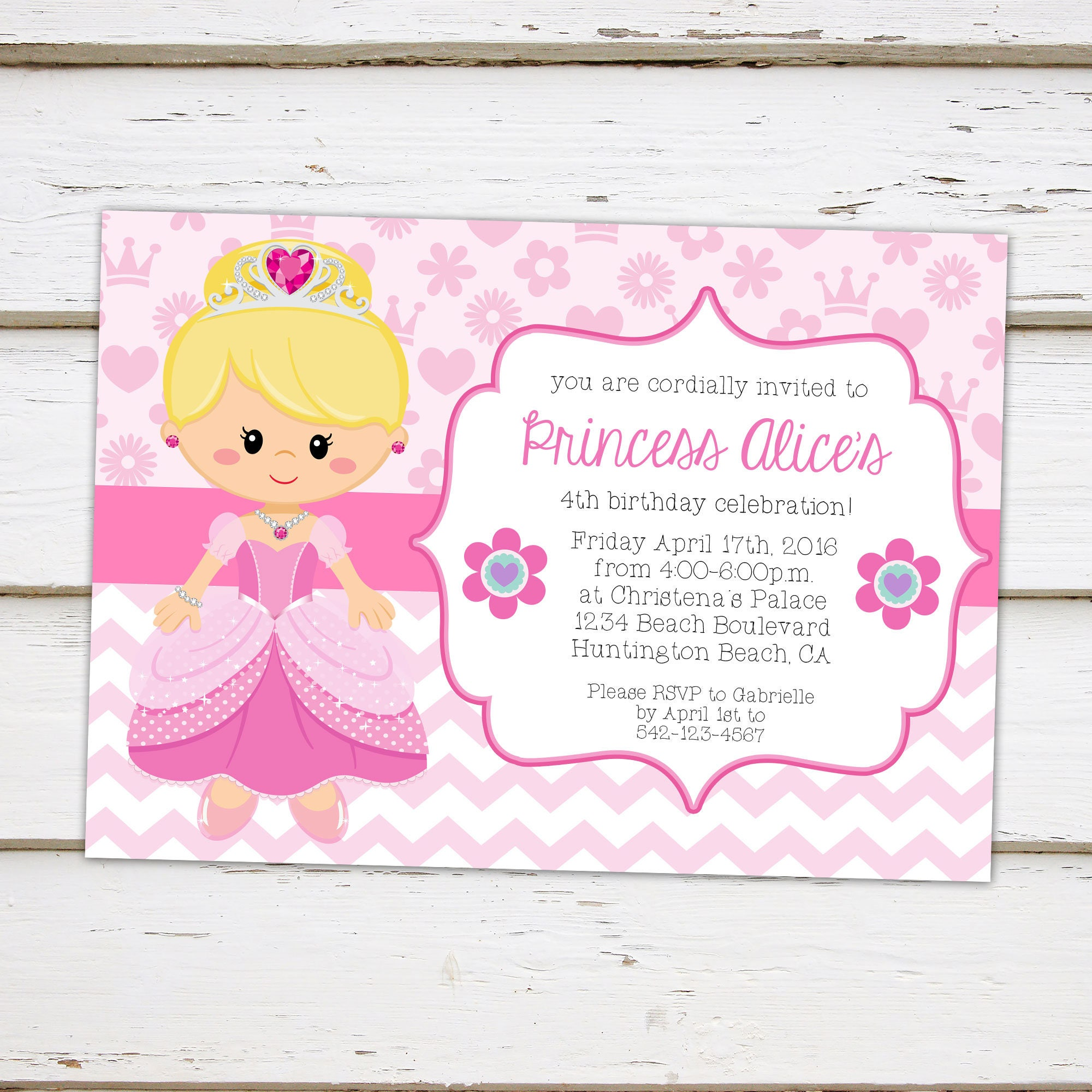 Printable Princess Birthday Party Invitation, Flowers, Tiara, Blonde ...