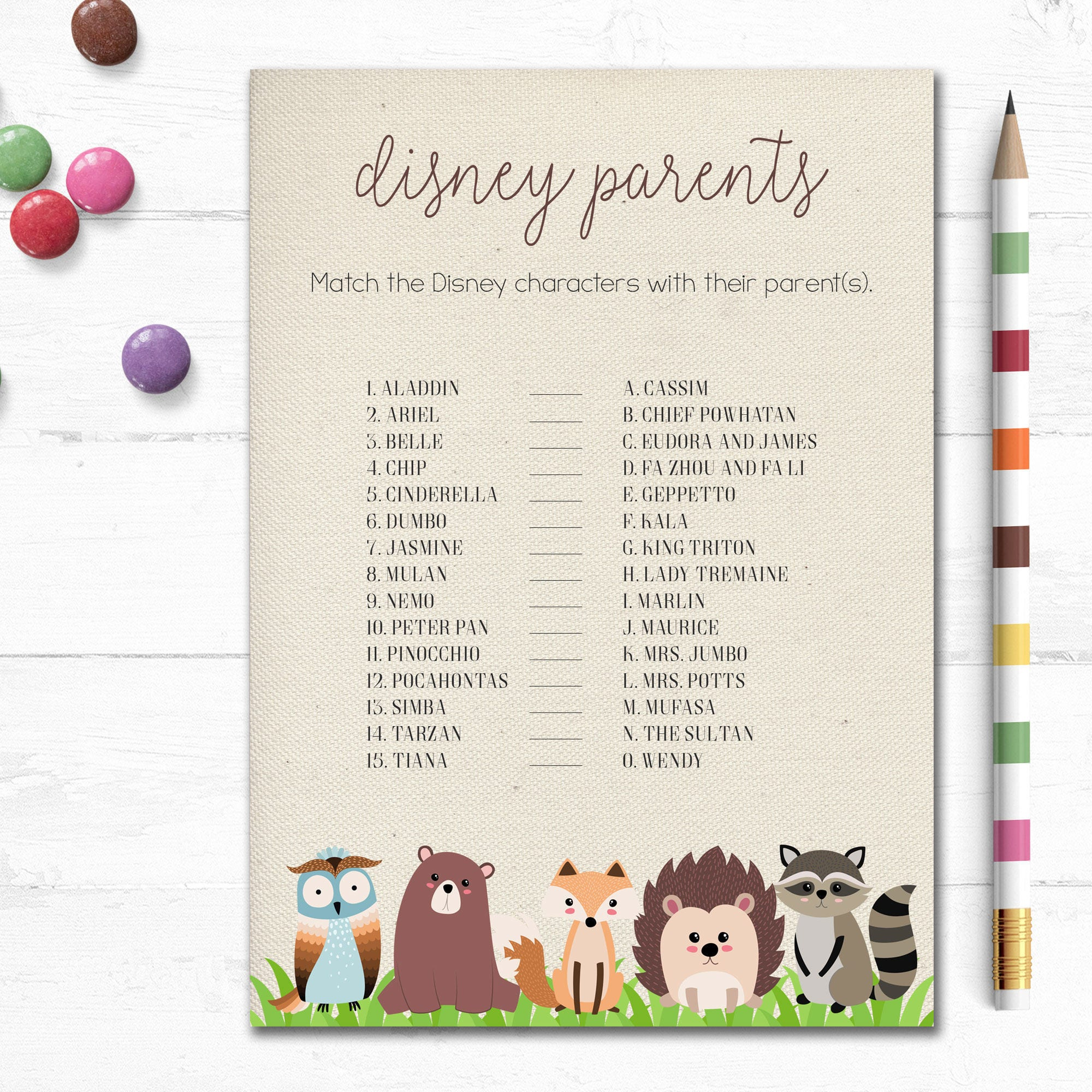 Printable Woodland Baby Shower Game, Disney Parents Game