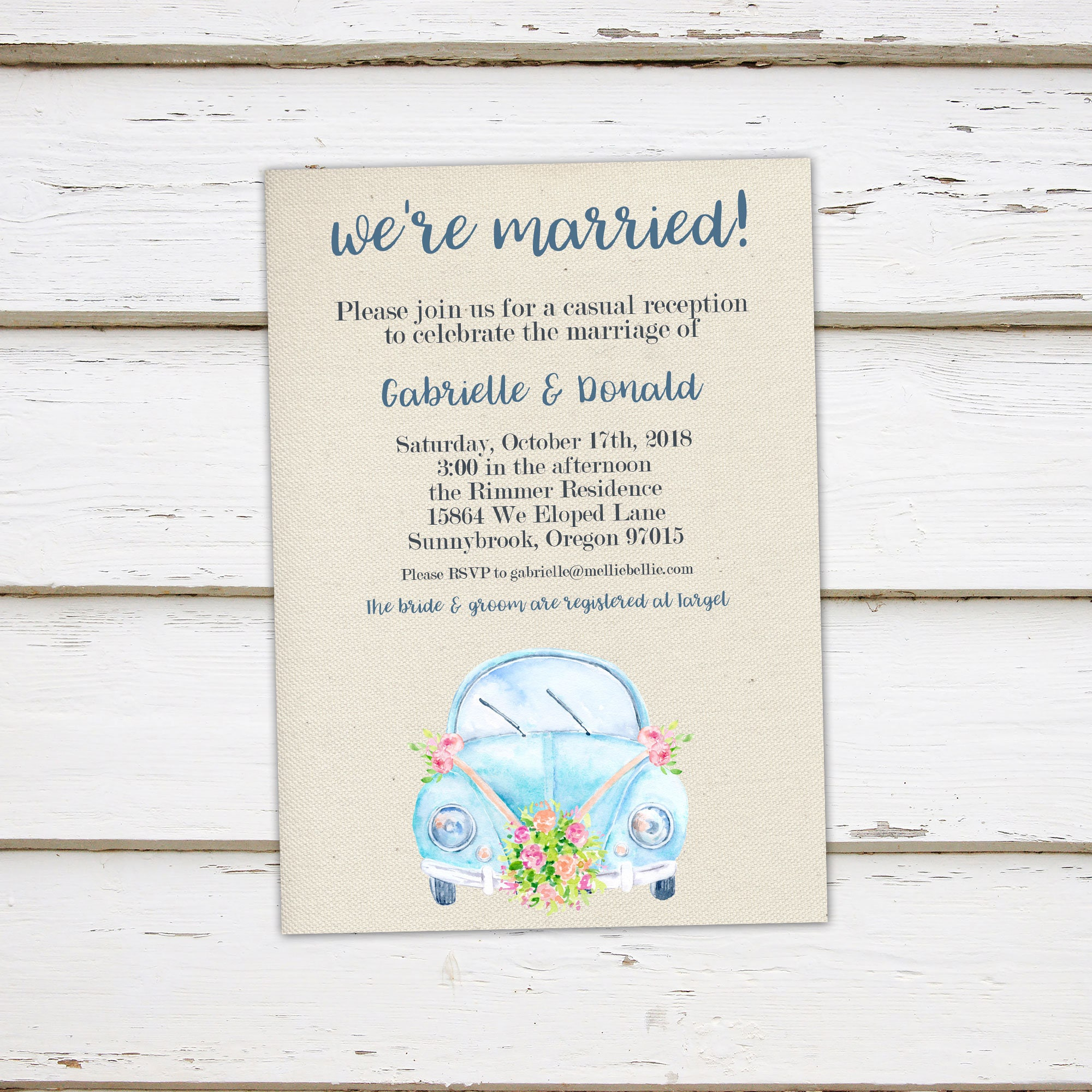printable elopement reception invitation we got married just