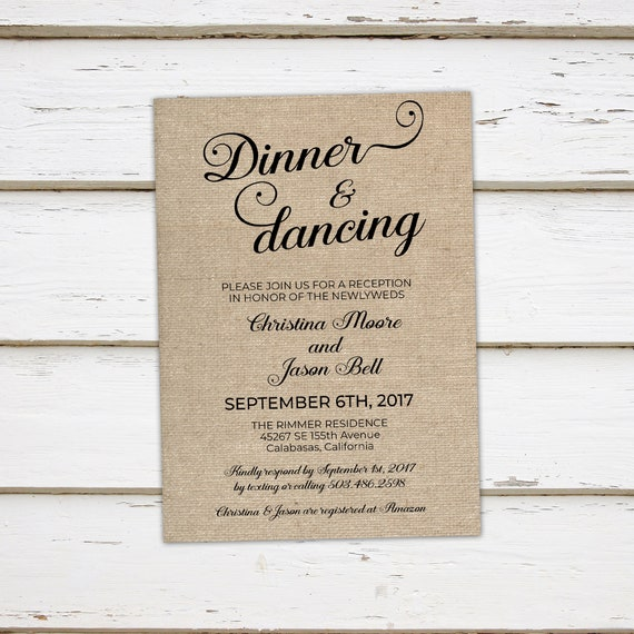 Printable Wedding Reception Invitation Dinner And Dancing Etsy